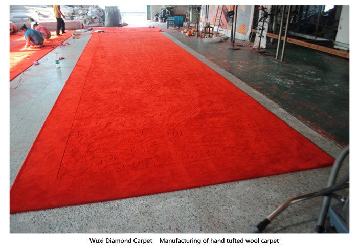 Manufacturing of hand tufted wool carpet